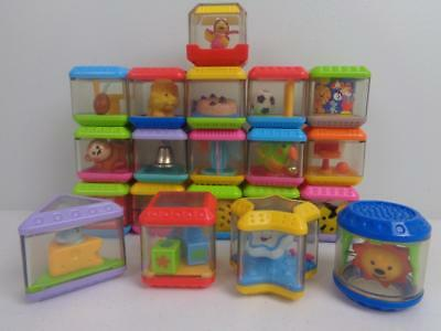 Fisher Price Peek A Blocks Lot of 20 Sports Animals Shapes Rattles Stacking