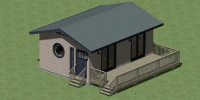 Tiny Cabin Plans Model 384 with Outdoor Deck and Energy Checklist