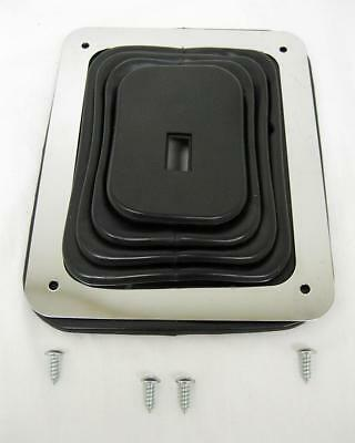 Hurst Style Large Rubber Shifter Boot With Chrome Plate + Hardware UNIVERSAL