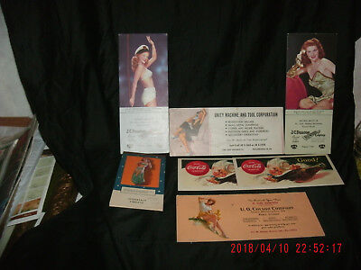 Vintage 6 Ink Blotters 4 Pin Up Gals 2 Coca Cola + Pin Up Note Pad