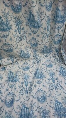 Gorgeous Pair Vintage French Toile Curtains Chateau Refurbishment