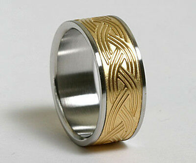 Unisex 316L Stainless Steel Gold Plated Celtic 9mm Ring Band Size 6-13 NEW SS39