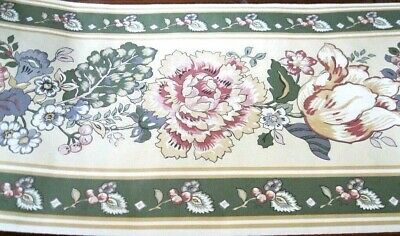 Wallpaper Border Traditional Flowers Floral Gold Green Beige Blue NIP Eh99724