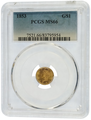 PCGS MS66 Gold 1853 $1 Liberty Head (39)