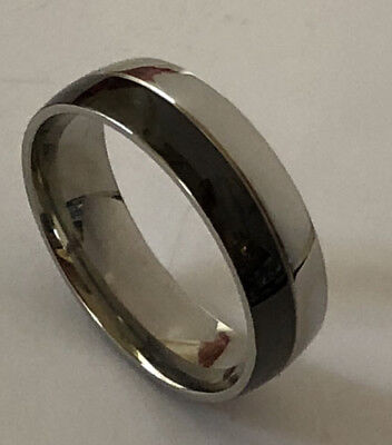 Men Women 316L Black Shine Stainless Steel 7mm Ring Band Size 6 - 13 NEW SS40