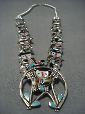 Rare!! Vintage Zuni Turquoise Coral Sterling Silver Squash Blossom Necklace