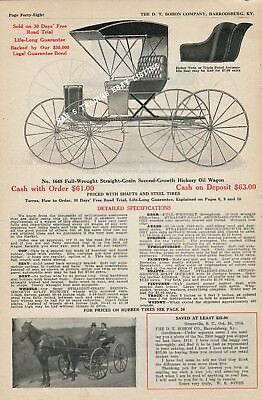 1914 D T Bohon Horse Buggy Carriage Advertisement No 1647 1648 Hickory Concord