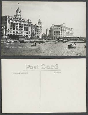 Singapore Old Real Photo Postcard View Taken from Sea, General Post Office, Pier