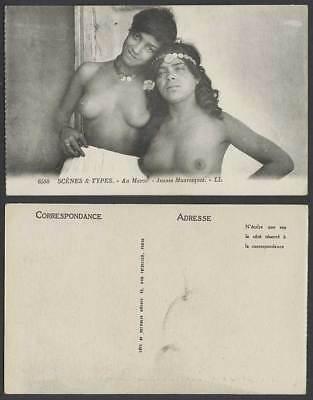 Morocco Native Young Moorish Girls Women Ladies Jeunes Mauresque Old Postcard LL