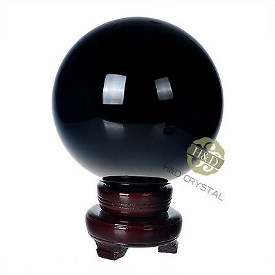 Asian Quartz Black Crystal Ball 150mm Including Wooden Stand Home Paperweight