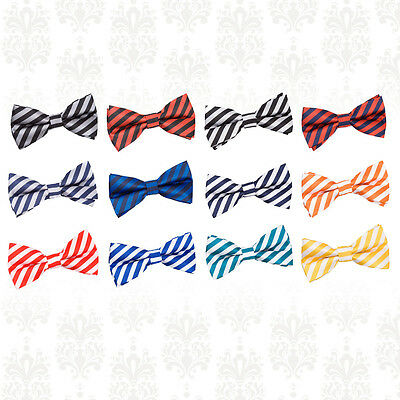 Men's Thin Stripe Woven Microfibre Polyester Pre-Tied Bow Tie - Evening Work