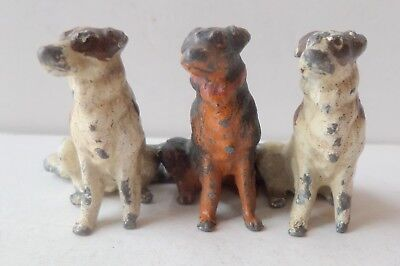"""Antique Cold Painted Spelter/lead Good Group Of Dogs 1.1/8"""" High"""