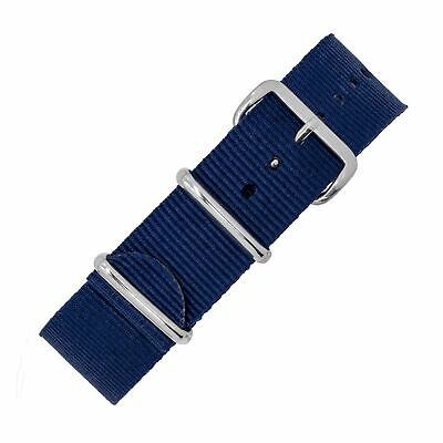 NATO Military-Style Nylon Watch Strap in BLUE with Polished Buckle and Keepers