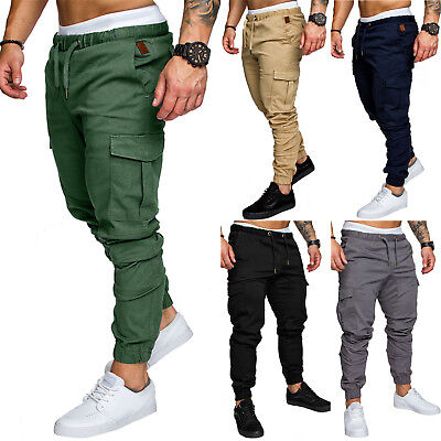 Men Elasticated Waist Cargo Combat Trousers Jogger Work Bottoms Slim Long Pants
