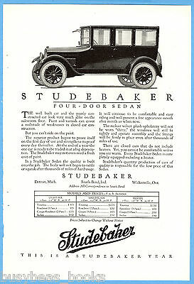 1923 STUDEBAKER advertisement, 4-door sedan photo, vintage auto advert
