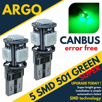 501 Bright Canbus Led Side Light W5w T10 5 Smd Super Green Bulbs Xenon Power 12v