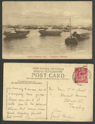 Singapore Harbour KE7 3c 1910 Old Postcard Native Shipping Craft, Boats & Ships