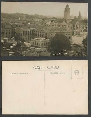 Singapore in 1921 Old R. Photo Postcard Victoria Memorial Town Hall Clock Tower