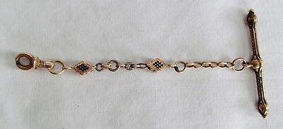 ATQ Victorian Solid 12K Gold Damascene Enamel Inlay T-Bar Watch Chain w/Swivel