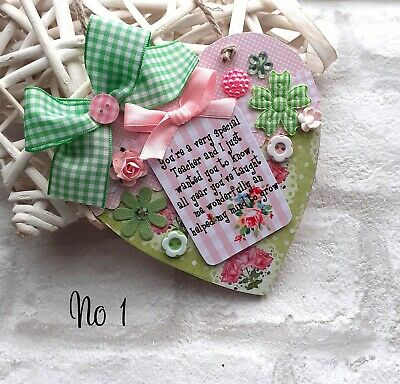 Shabby Chic THANK YOU TEACHER  Sign Gift Wooden Heart Plaque