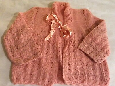 "Original Vintage 1950's / 60's pink Knitted Cardigan Bed Jacket Size 34"" Chest"