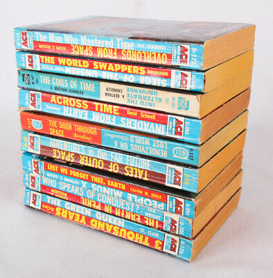 Vintage Lot of 9 ACE Double Novel Sci Fi Books, All VG to VG+, 1950's and 1960's