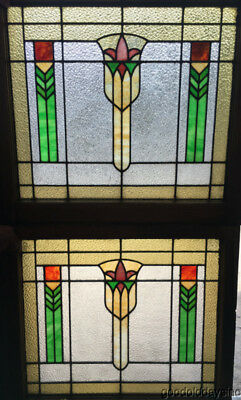 "Pair of Wonderful Stained Leaded Glass Windows 32"" by 29"" Circa 1920"