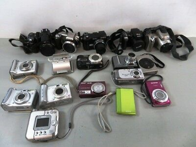 Lot of 17 As Is/Untested Digital Cameras - Canon, Panasonic and Nikon- LOT
