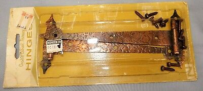 "Pair of Vtg Hammered Copper Style Door Gate Hinges Rustic NIP TStrap 7"" Hardware"
