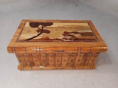 Novelty Book inlaid Box , Secret Lock & Compartment , Sorrento Ware   ref 2137