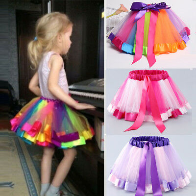 Little Kids Girls Rainbow Skirt Cute Tutu Dance Ballet Party Dress Dancewear