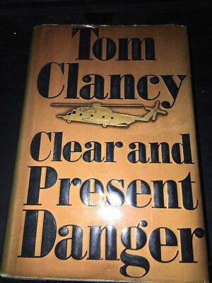 SIGNED! Clear And Present Danger , Tom Clancy HC 1989 1st Ed 1st Print