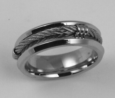 316L Stainless Steel Rope Design 7mm Comfort Fit Ring Band Size 6 - 10 NEW SS47