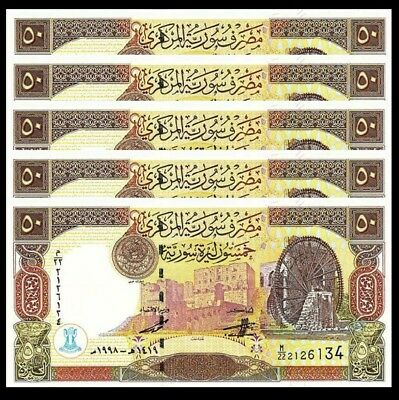 Syria 50 Pounds 1998 Unc Consecutive 5 Pcs Lot P-107