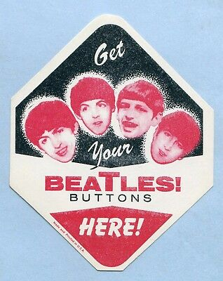 GET YOUR BEATLES BUTTONS HERE! - BUBBLEGUM MACHINE LABEL DECAL - 1960's - UNUSED
