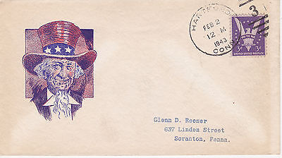 World War Ii Wwii Patriotic Event Cover 1943 Uncle Sam Unknown Cachet Maker