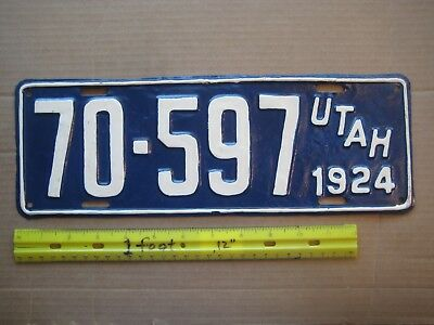 License Plate, Utah, 1924, 70 - 597, White on Navy Blue