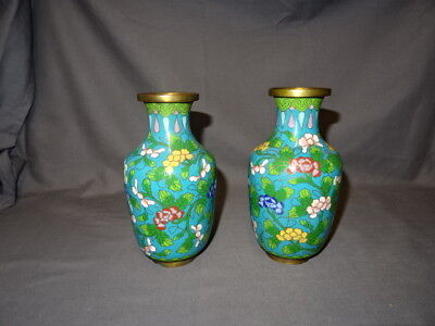 """Attractive Pair Of Vintage Chinese 6"""" Cloisonne Vases - Floral Decoration"""