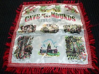Vtg Cave of the Mounds Wisconsin Satin Souvenir Pillow Cover Fringed Edge