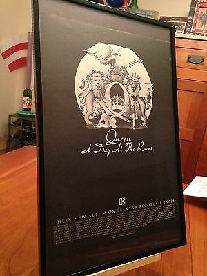 """4 Big 11X17 Framed Queen """"A Day At The Races"""" Lp Album Cd Promo Ads (Tour Dates)"""