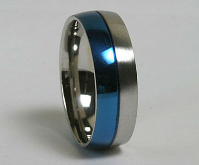 Unisex 316L Blue Stainless Steel 7mm Comfort Fit Ring Band Size 6 - 13 NEW SS52