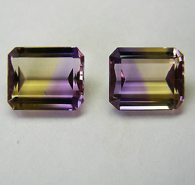10.45ct NATURAL AMETRINE MATCHED PAIR EXPERTLY FACETED IN GERMANY+CERT AVAILABLE