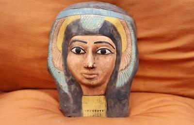 RARE Antique Egyptian Mask of Ancient Pharaoh Queen Hatshepsut Collection..LARGE