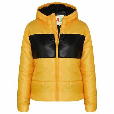 Kids Girls Boys Mustard Contrast Panel Jackets Hooded Padded Warm Coats 5-13 Yrs
