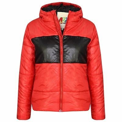 Kids Girls Boys Red Contrast Panel Hooded Padded Quilted Warm Jackets Coats 5-13