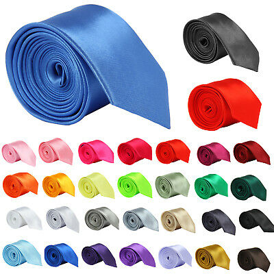 Mens Ties Business Classic Ties Wedding Party Solid Plain Satin Colorful Ties Uk