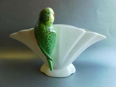 Beautiful Art Deco Falcon Ware English Pottery Budgerigar Parrot Fan Vase