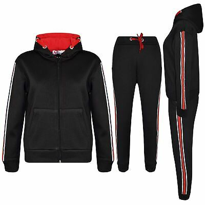 Kids Girls Boys Tracksuits Plain Hooded Top Bottom Contrast Taped Jogging Suits