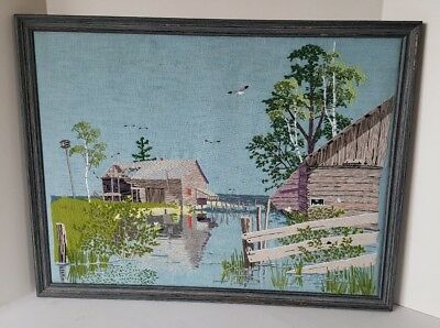 Vintage Framed Crewel Textile Seaside Harbor Bay Nautical Art