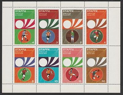 GB Locals STAFFA  7483 - 1974 FOOTBALL WORLD CUP perf sheetlet of 8 u/mint